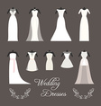 Set of wedding dresses isolated vector image