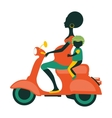 Scootering mom-to-be with a child vector image vector image