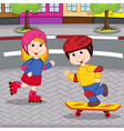 girl and boy on skateboarding and rollerblading vector image vector image