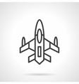 Military aircraft black line design icon vector image