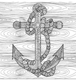 Anchor and rope in the zentangle style vector image
