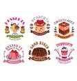 Bakery desserts pastry cakes emblem labels set vector image