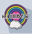 cute circle rainbow with cloud design vector image