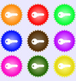 key icon sign A set of nine different colored vector image
