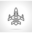 Military aircraft black line design icon vector image