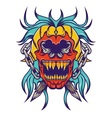 Red skull with bloe hair tatoo design vector image