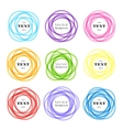 Rounded shapes labels colored overlapping vector image