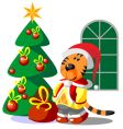 tiger winter Christmas color vector image vector image