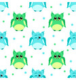 cute green and blue colored owls vector image