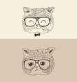 cute cat kitten in glasses hipster style engraved vector image
