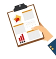 hand holding diagram on clipboard icon vector image