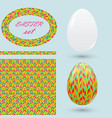 easter set with eggs seamless pattern frame and vector image