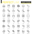 fast food thin line web icons set outline stroke vector image