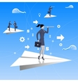 Flying on paper plane business concept vector image