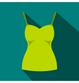 Green womans tank top icon flat style vector image