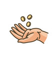 hand and money or gold coins earnings cash vector image