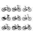 Set of retro bicycles silhouettes vector image