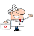 Waving Caucasian Male Doctor With A First Aid Kit vector image vector image