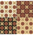 Set of seamless ornamental patterns in brown tones vector image