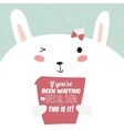 Greeting card with funny bunny and motivational vector image