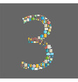 Three number social network with media icons vector image
