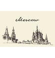 Moscow Russia Red square Kremlin drawn sketch vector image
