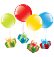 colorful balloons and a gift box vector image vector image