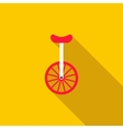 Unicycle or one wheel bicycle icon vector image
