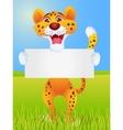 Cheetah cartoon with blank sign vector image