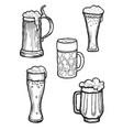 beer ware set beer mug and beer glass silhouette vector image