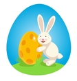 Easter bunny with big easter Egg vector image