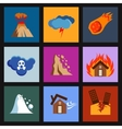 Flat disaster damage icons vector image