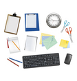 keyboard and office supplies vector image