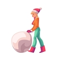 Pretty young woman making a snowman vector image