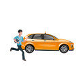 successful businessman hailing a taxi vector image