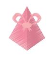 drawing pink gift box pyramid bow vector image
