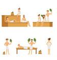 sauna and steam house loving people enjoying hot vector image