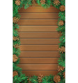 Christmas vertical wooden background with pine vector image