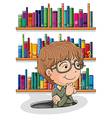 A man wondering inside the hole with books at the vector image