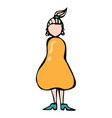 Caricature pear or triangle female body shape vector image