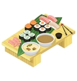 Japanese food Sushi and rolls on wooden stand vector image