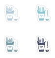 Set of paper stickers on white background French vector image