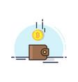 bitcoin drop into the brown wallet vector image