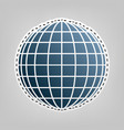 earth globe sign blue icon with outline vector image