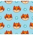 Seamless pattern with funny fox faces vector image