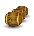 three wooden barrels with label wine vector image