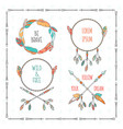 tribal boho style frames with inspirational vector image