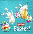 two white cheerful easter bunnies vector image