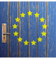 Euro flag painted on old wooden door vector image