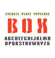 narrow stencil-plate sanserif font vector image